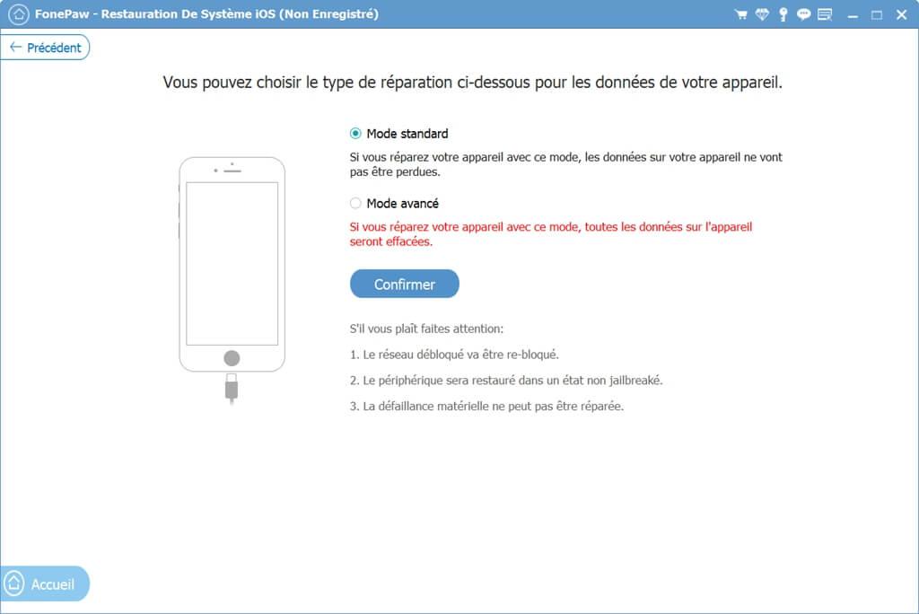 mode de la restauration de système iOS