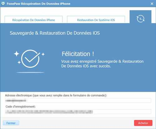 Enregistrer sauvegarde et restauration de données ios