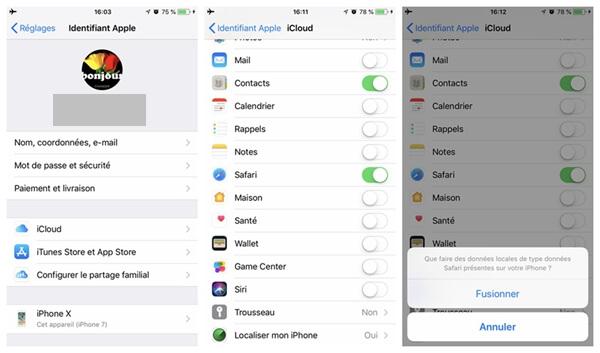 sauvegarder vos signets Safari sur iPhone X/8