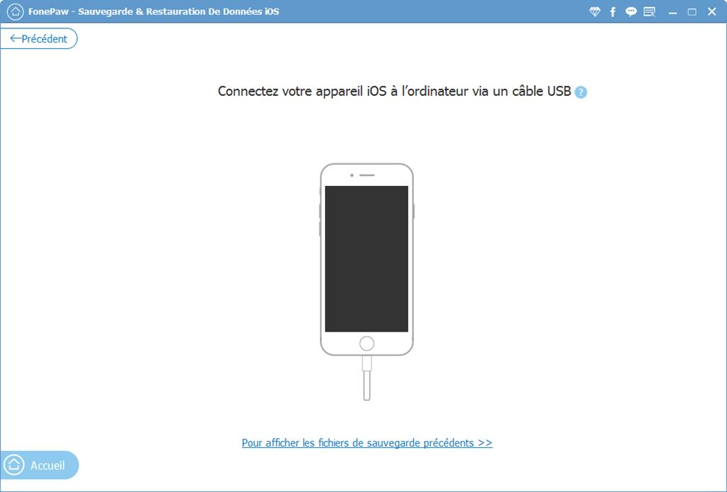 Lancez le logiciel FonePaw - Sauvegarde & Restauration De Données iOS