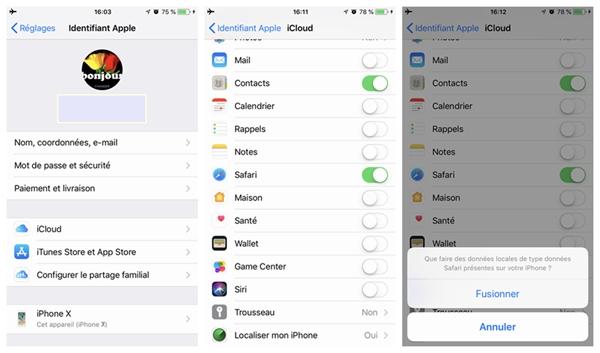 sauvegarde de vos signets Safari sur iPhone X/8 avec iCloud