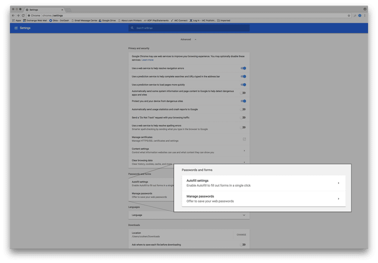 désactiver saisie automatique Chrome