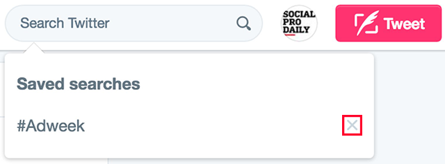 Twitter Remove Saved Search