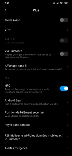 les fonctions Android Beam et NFC