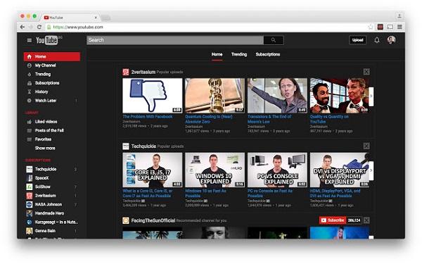 activer mode sombre youtube