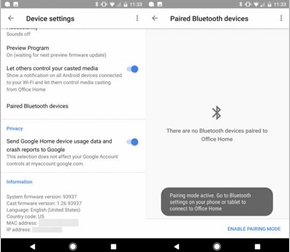 Appareil Google paramètres Bluetooth