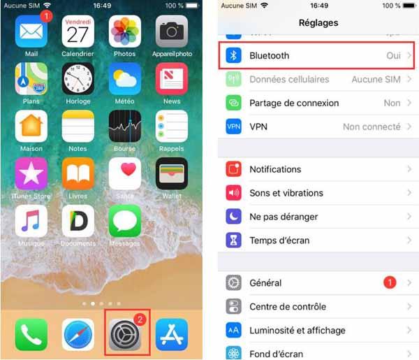 Activez le Wi-Fi et le Bluetooth sur votre iPhone
