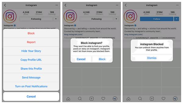 bloquer utilisateur instagram