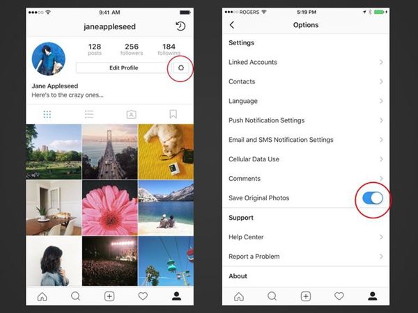 sauvegarder vos propres photos sur Instagrame