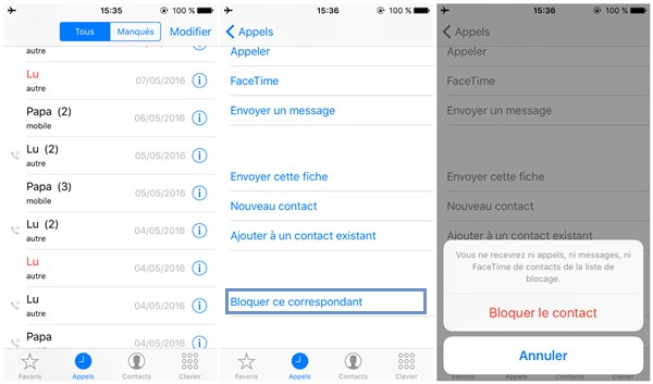 comment bloquer numero iphone