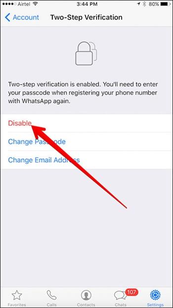Désactiver Vérification à deux étapes