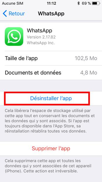 Desinstaller WhatsApp