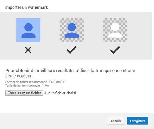Enregistrer un watermark sur Youtube