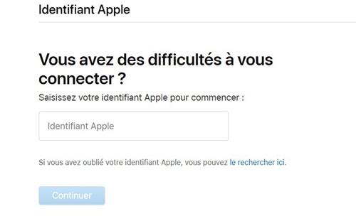 Entrer votre identifiant Apple