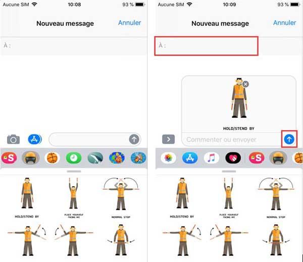 Envoyer des autocollants dans Messages