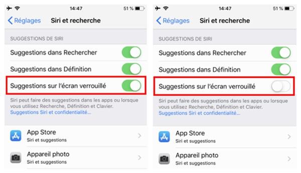 Désactivez les suggestions de Siri