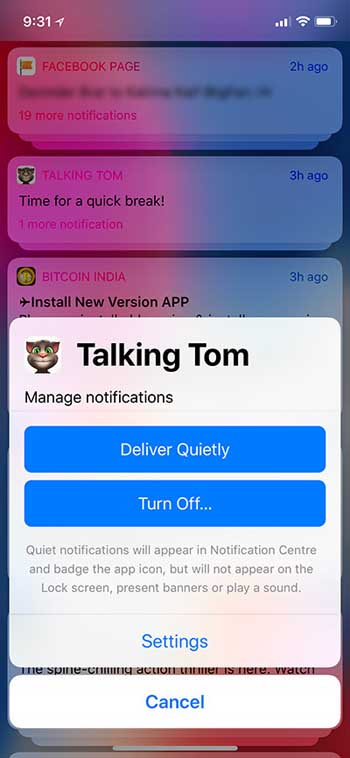 Deux options au centre de notifications
