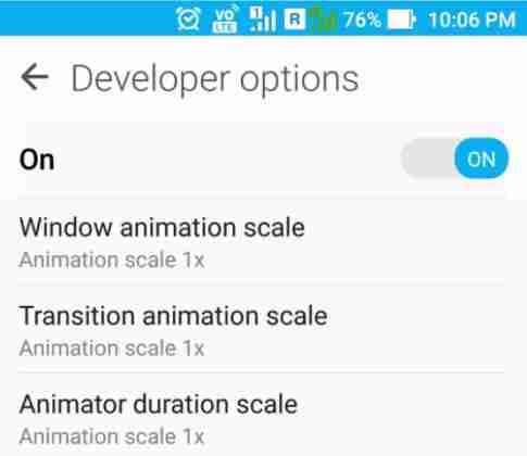 activer les options de développeur