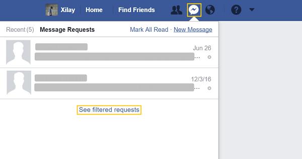 messages filtres facebook