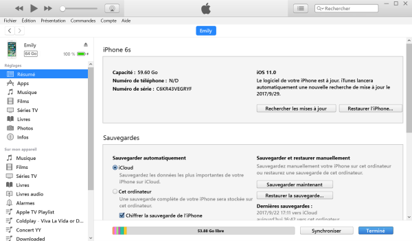 Restaurer le clavier via iTunes