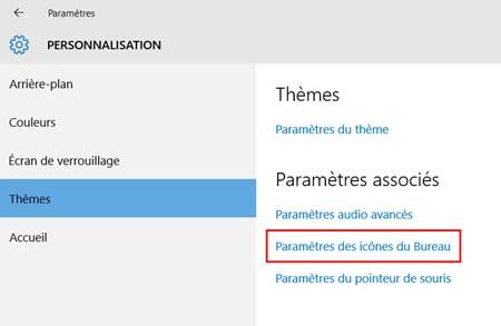 Paramètres des icônes du bureau windows