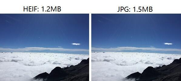 Imge des formats HEIF (HEIC) et HEVC ou JPG