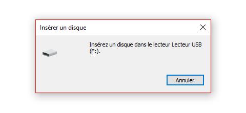 Insérez un disque dans le lecteur USB