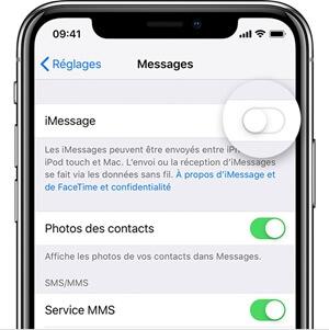 Service de l'iMessage indisponible après la mise à jour iOS 14