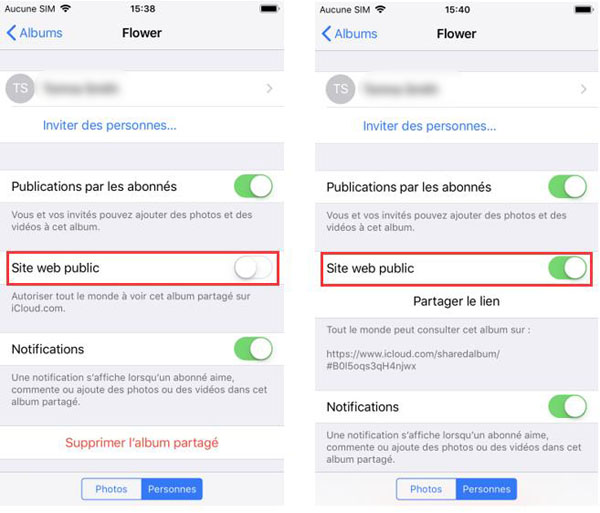 Activer l'option « Site web public »