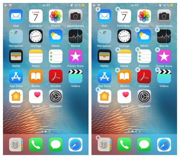 appuyer et maintenir l'icône d'une application sur votre iPhone