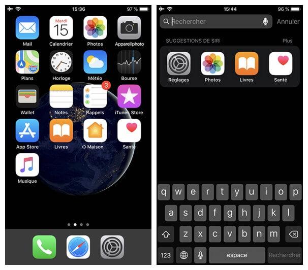 la barre de recherche de votre iPhone