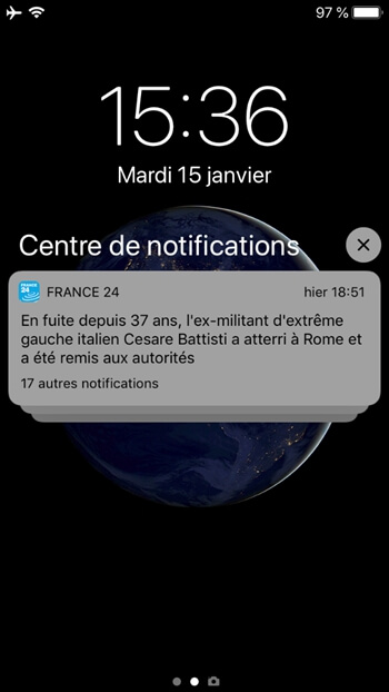 Centre de notifications » de votre iPhone
