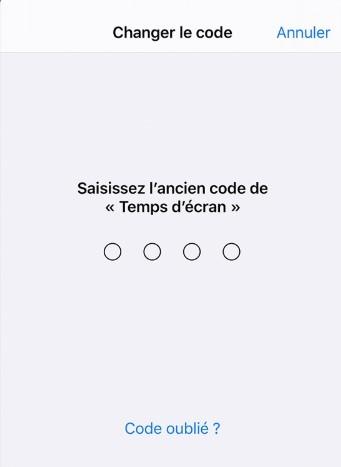 Changer le code de Temps d'écran
