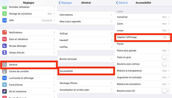 activer mode sombre sur iPhone