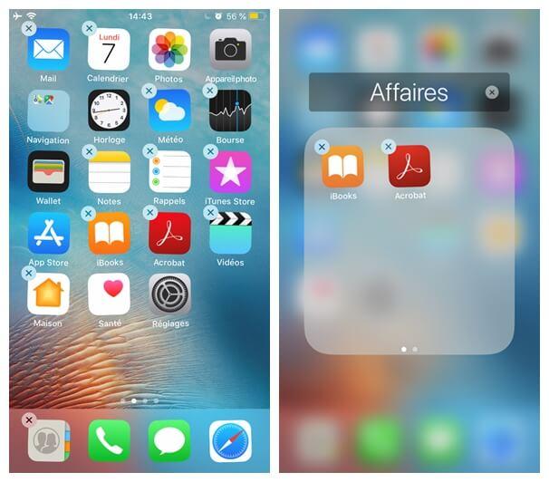 déplacer application dans un dossier sur votre iPhone