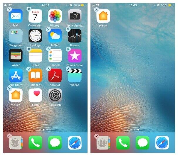 déplacer application dans un nouvel endroit de l'écran sur votre iPhone