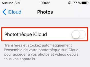Désactiver la bibliothèque de photos iCloud