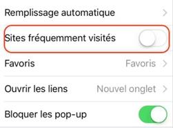 désactiver « Sites fréquemment visités » sur Safari