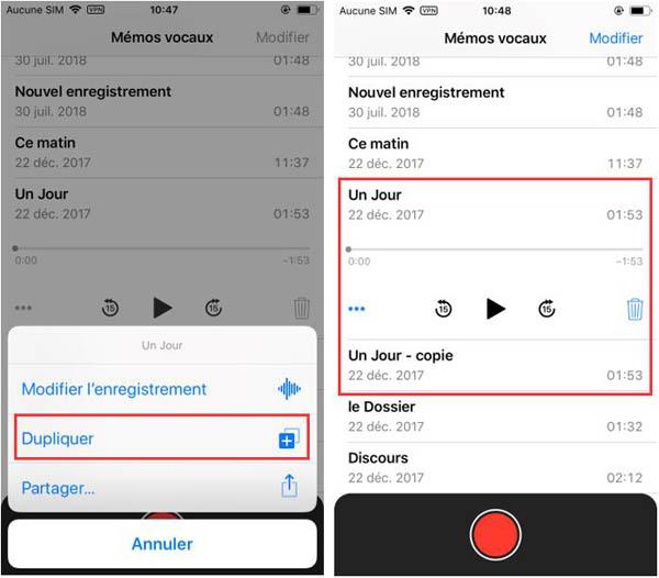Créer des copies des mémos vocaux sur iOS 12