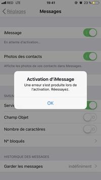 Erreur d'iMessage : « En attente d'activation »