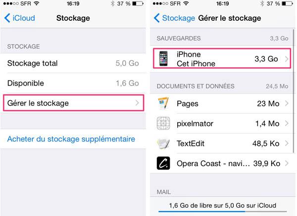 Gérer le stockage iCloud
