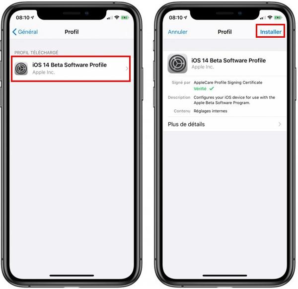 Installer la version iOS 14 Bêta sur l'iPhone