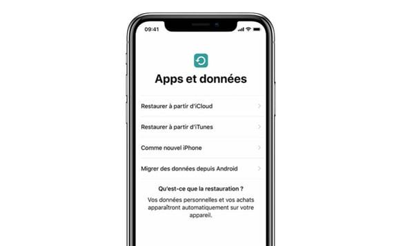 restaurer l'iPhone XS (Max) à partir d'une sauvegarde iCloud