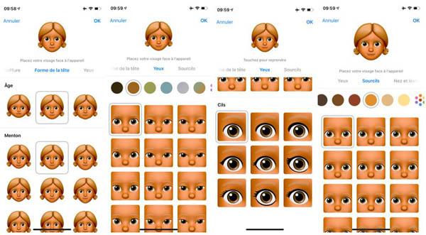 Modifier les détails d'un Memoji