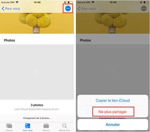 Ne plus partager le lien iCloud