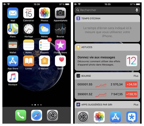 la page des raccourcis sur votre iPhone
