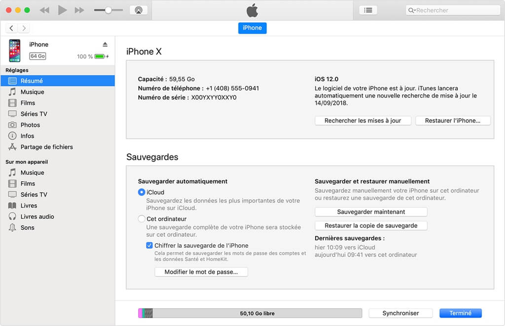 restaurer l'iPhone XS (Max) à partir d'une sauvegarde iTunes