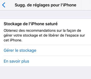 L'espace de stockage est saturé sur iPhone