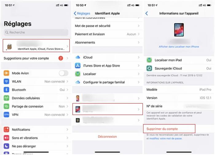 Supprimer l'appareil de Apple ID sur iPhone