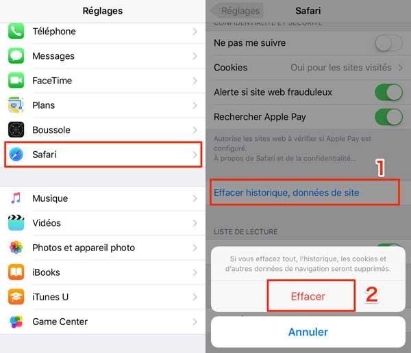 Effacer les données de navigation sur l'iPhone